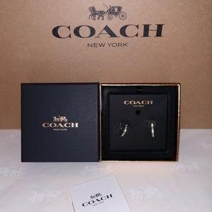Coach Paved Signature  Huggie Hoop Earrings